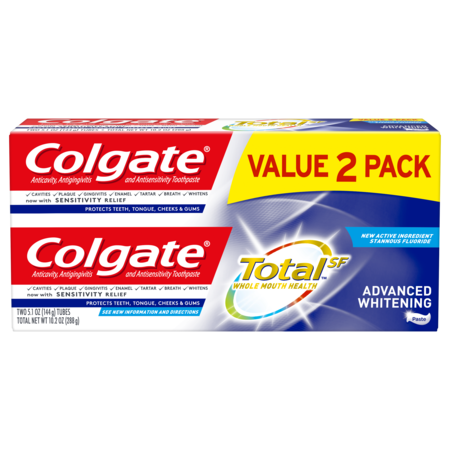 Colgate Total Whitening Toothpaste, Advanced Whitening, 5.1 oz. 2-pack- Paste (Colgate Total Advanced Whitening)
