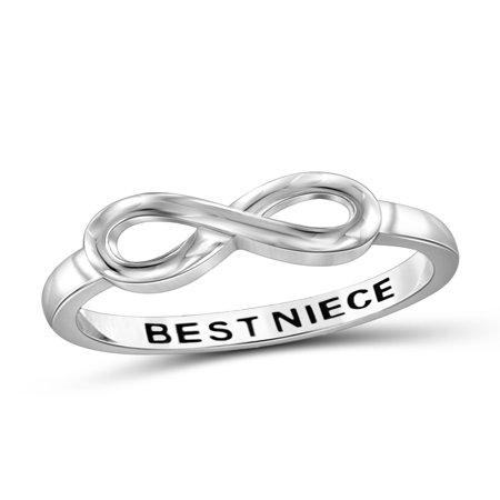 Best Niece Sterling Silver Infinity Loop Message Ring