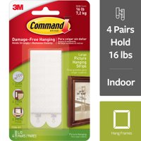 Command Large Picture Hanging Strips, White, 4 Sets of Strips/Pack