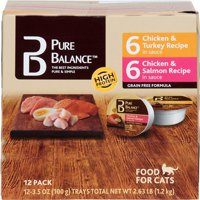 (2 pack) Pure Balance Grain-Free Wet Food for Cats, 6 Chicken & Turkey Recipe & 6 Chicken & Salmon Recipe Variety Pack, 36 oz, 12 Count