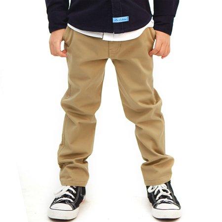 Leo&Lily Boys Kids 100% Cotton Twill Elastic Waist Regular Fit Pants Trousers (Khaki,10) LLB4A01 - Boys Navy Linen Trousers