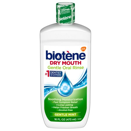 Biotene Gentle Mild Mint Moisturizing Oral Rinse Mouthwash for Dry Mouth, 16