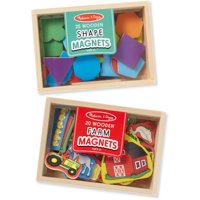 Melissa & Doug Wooden Magnets Set - Shapes and Farm (45 pcs)