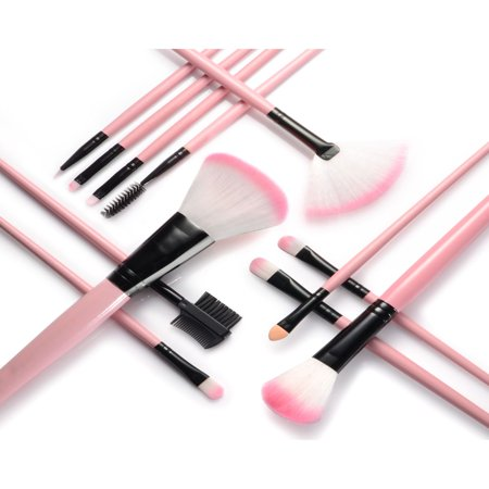 Zodaca 12pcs Makeup Brushes Brush Set Kit Professional Cosmetic Set Powder Foundation Eyeshadow Eyeliner Blush Contouring Blending Brush Set with Pink Storage Case Bag