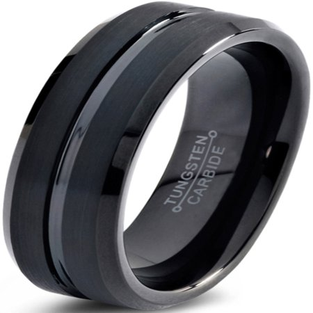 Charming Jewelers Tungsten Wedding Band Ring 6mm for Men Women Comfort Fit Black Beveled Edge Polished Brushed Lifetime Guarantee ()