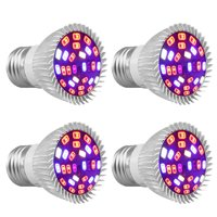 4-pack 28W Full Spectrum E26 E27 LEDs Grow Light Bulbs for Hydroponics Greenhouse Organic Indoor Plants