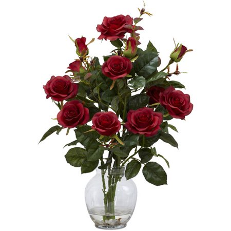 Nearly Natural Rose Bush Silk Flower Arrangement With Vase Red