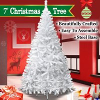 7ft Artificial Christmas Tree W/ Steel Base--White