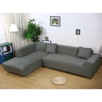 """Sofa Covers for L Shape, 2pcs Polyester Fabric Stretch Slipcovers 3 seater(70""""-90"""") + 3 seater(70""""-90"""") ,+ 2pcs Pillow Covers for Sectional sofa L-shape Couch"""