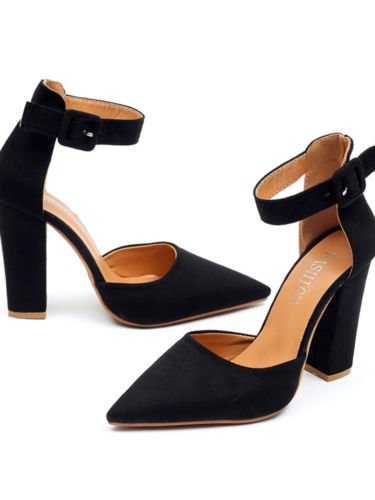 High Heel Wrap (Womens Pointed Toe Sandals Block High Heels Pumps Ankle Strappy Shoes )
