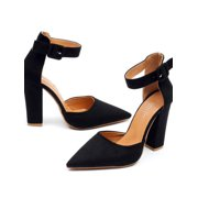 1f32522cc20941 Womens Pointed Toe Sandals Block High Heels Pumps Ankle Strappy Shoes