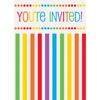 Rainbow Birthday Invitations, 8pk