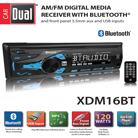 Dual Electronics XDM16BT High Resolution LCD Single DIN Car Stereo with Built-In Bluetooth, USB & MP3 Player - Ic Dual Audio Preamp