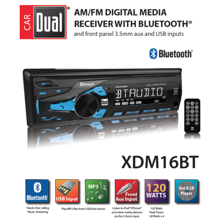 Dual Electronics XDM16BT High Resolution LCD Single DIN Car Stereo with Built-In Bluetooth, USB & MP3