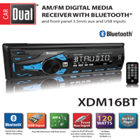 Dual Electronics XDM16BT High Resolution LCD Single DIN Car Stereo with Built-In Bluetooth, USB & MP3 Player