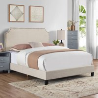 Mallory Upholstered Bed with Nail Head Trim, Multiple Sizes and Colors