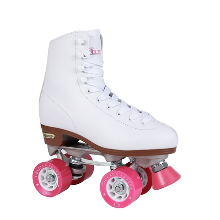 Chicago Ladies' Classic Quad Roller Skates, White, Size 1 - Metal Roller Skates