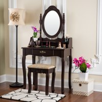 Fineboard Vanity Table Set Wooden Dressing Table with Single Mirror, Organization Drawers Makeup Table & Stool, Brown
