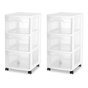 Sterilite 3 drawer cart, white (available in case of 2 or single unit)