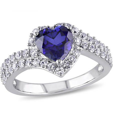 2-3/4 Carat T.G.W. Created Blue and White Sapphire Sterling Silver Heart Bypass Engagement (Brass Engagement Ring)