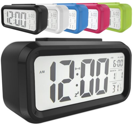 Snooze Electronic LED Digital Alarm Clock Backlight Time Calendar Thermometer Temperature (Electronic Backup Alarm)