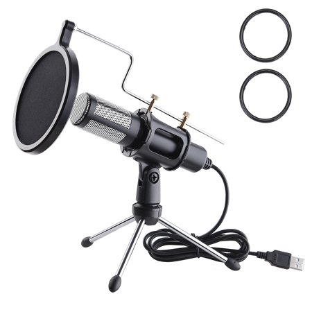 Cardioid Condenser Recording Microphones (Yescom Condenser USB Microphone with Tripod Stand for Game Chat Skype YouTube Studio Audio Recording Computer )