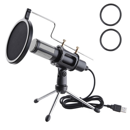 Yescom Condenser USB Microphone with Tripod Stand for Game Chat Skype YouTube Studio Audio Recording Computer ()