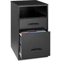 Lorell 2 Drawers Vertical Steel Filing Cabinet, Black
