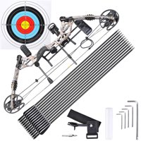 Archery Hunting Compound Bow Kit Right Hand w/ 12pcs Carbon Arrows 20 to 70lbs Black/Camo Opt