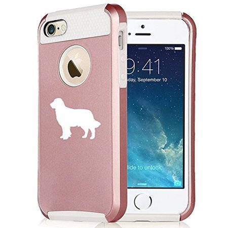 For Apple (iPhone 8) Shockproof Impact Hard Soft Case Cover Golden Retriever (Rose