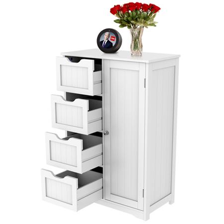 Wooden Bathroom Floor Cabinet, Side Storage Organizer ...