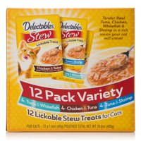 Delectables Lickable Cat Treats - Stew 12 Count Variety Pack