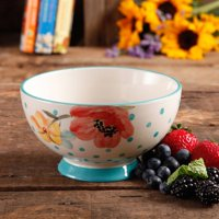 "The Pioneer Woman Flea Market 6"" Decorated Footed Bowls, Bloom Dots Turquoise, Set of 4"