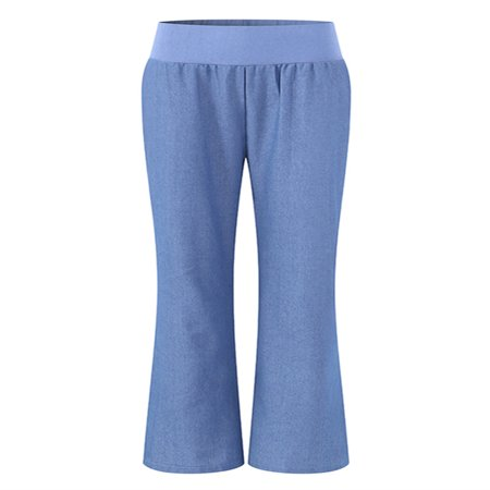 Women's Casual Elastic Waist Faux Denim Bodycon Flared Pants Solid Trousers ()