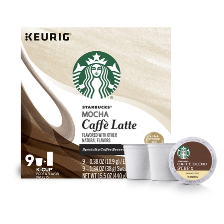 Mocha Cup Set (Starbucks Mocha Caffe Latte Medium Roast Single Cup Coffee for Keurig Brewers, 1 Box of 9 (9 Total K-Cup)