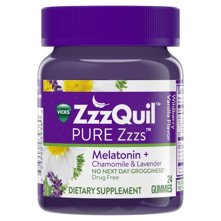 - Vicks ZzzQuil PURE Zzzs Melatonin Natural Flavor Sleep Aid Gummies with Chamomile, Lavender, & Valerian Root, 1mg per gummy, 24 Count