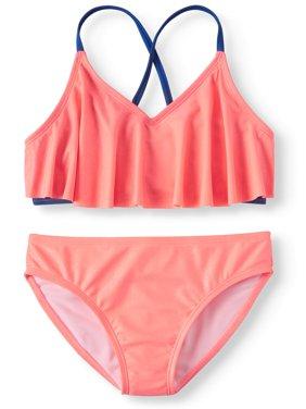 Solid Flounce Bikini Swimsuit (Big Girls)