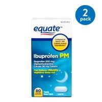 (2 Pack) Equate Ibuprofen PM Caplets, 200 mg, 80 Ct
