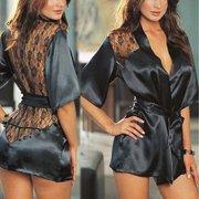 b379f06859 Women Sexy Night Gown Sexy Lingerie Plus Size Lace Intimate Sleepwear Robe