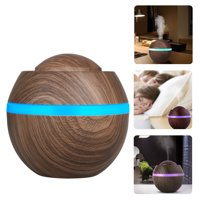 500ml Cool Mist Humidifier, Wood Grain Portable Ultrasonic Aromatherapy Diffuser Cool Mist Humidifier with 7 Color LED Lights for Office Home Room Study Yoga Spa