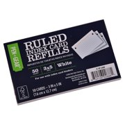Pen + Gear Index Card Refill, White, Ruled, 3 IN x 5 IN, 50 CT