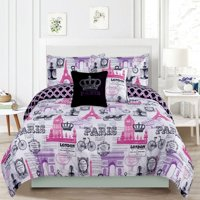 Bedding Twin 4 Piece Girls Comforter Bed Set, Paris Eiffel Tower London Pink and Purple