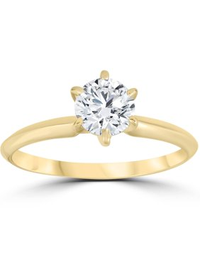 14k Yellow Gold 3/4ct Round Solitaire Diamond Engagement Ring Jewelry Brilliant