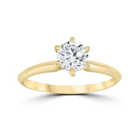 Yellow Gold Round Diamond Solitaire (14k Yellow Gold 3/4ct Round Solitaire Diamond Engagement Ring Jewelry Brilliant)
