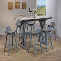 """Kris 7 Piece Counter Height Dining Set, Distressed Gray & Washed Blue Wood, Farmhouse, 72"""" Rectangular, (Table & 6 Swivel Bar Stools)"""