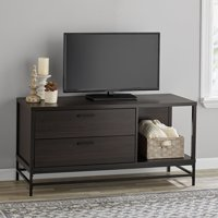 """Mainstays 2-Drawer Wood and Metal TV Stand for Most 55"""" TVs, Espresso"""