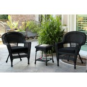3-Piece Black Resin Wicker Patio Chairs and End Table Furniture Set - Black Cushions