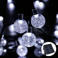 Qedertek Christmas Lights LED String lights Holiday Lighting Solar String Lights LED Bubble Ball Holiday Decorations 30 LED Crystal Globe Fairy Lights Decoration (White)