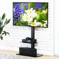 FITUEYES Swivel Floor TV Stand with Mount and Shelves for 32 to 65 Inch TV TT206502GB