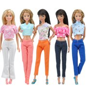 d1118d1bd86 5 BARBIE DOLL OUTFITS INCLUDES 5X TOPS + 5X PANTS FASHION SUMMER BARBIE  DOLL CLOTHES GIRLS